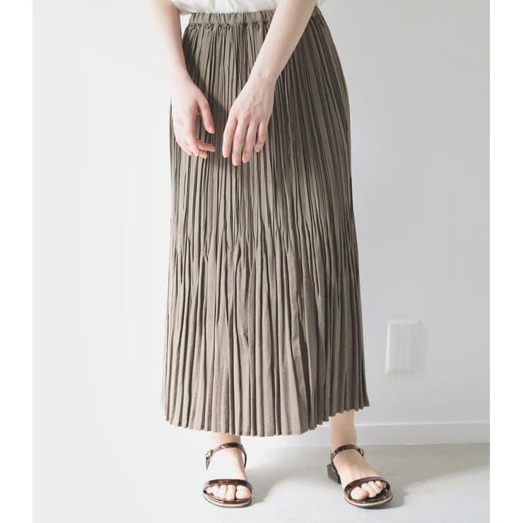リネンライクキャンバスプリーツスカート | AVAN LILY | 詳細画像1