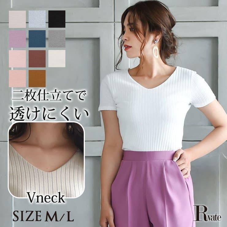 リブカットソー 透けにくい 半袖Vネックトップス Tシャツ   Rvate   詳細画像1