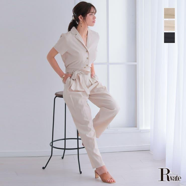 オールインワン サロペット 麻混 半袖 パンツ | Rvate | 詳細画像1