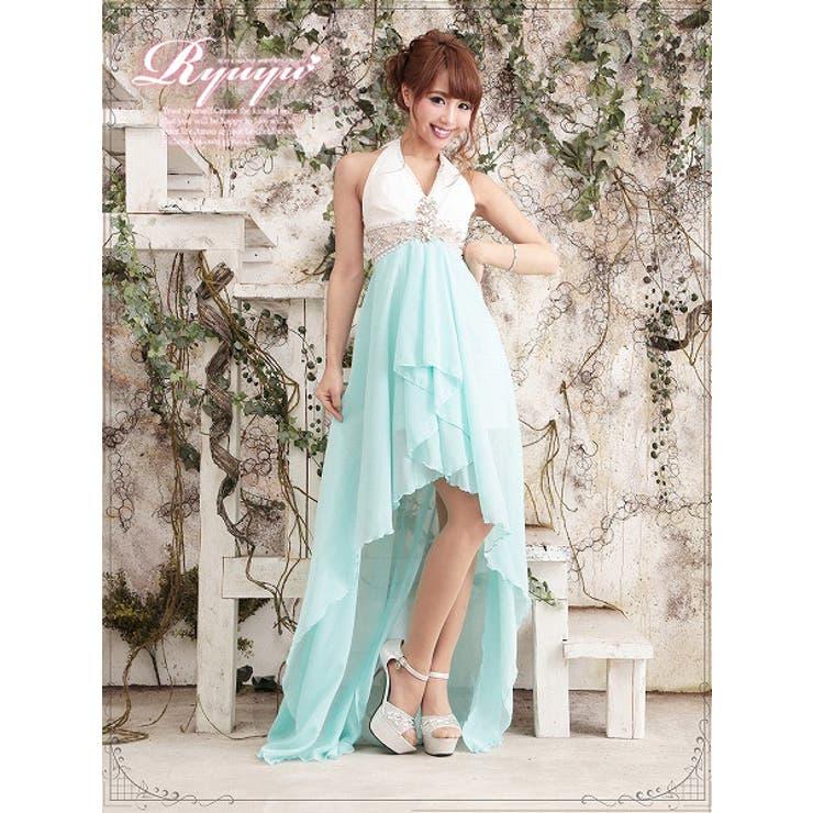 【BELSIA】ビビッドカラーで悩殺Elegantな配色ホルター脚魅せテールカットシフォンロングドレス-blue*500299