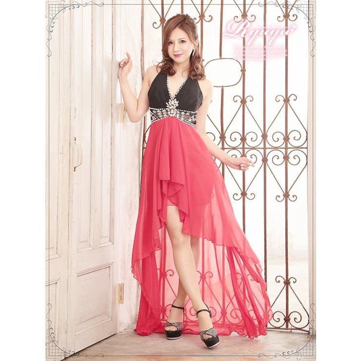 【BELSIA】ビビッドカラーで悩殺Elegantな配色ホルター脚魅せテールカットシフォンロングドレス-red*500301