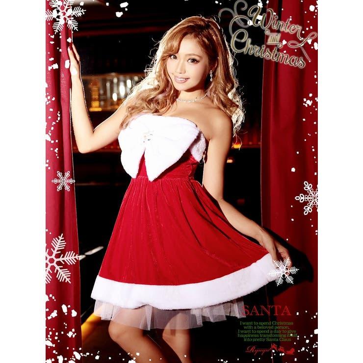 【!キャバサンタ!!】Bigリボンフレアーサンタコスプレクリスマス衣装【Ryuyu】【リューユ】キャバクラやクリスマスイベントにも◎(Mフリーサイズ)(レッド)*500462