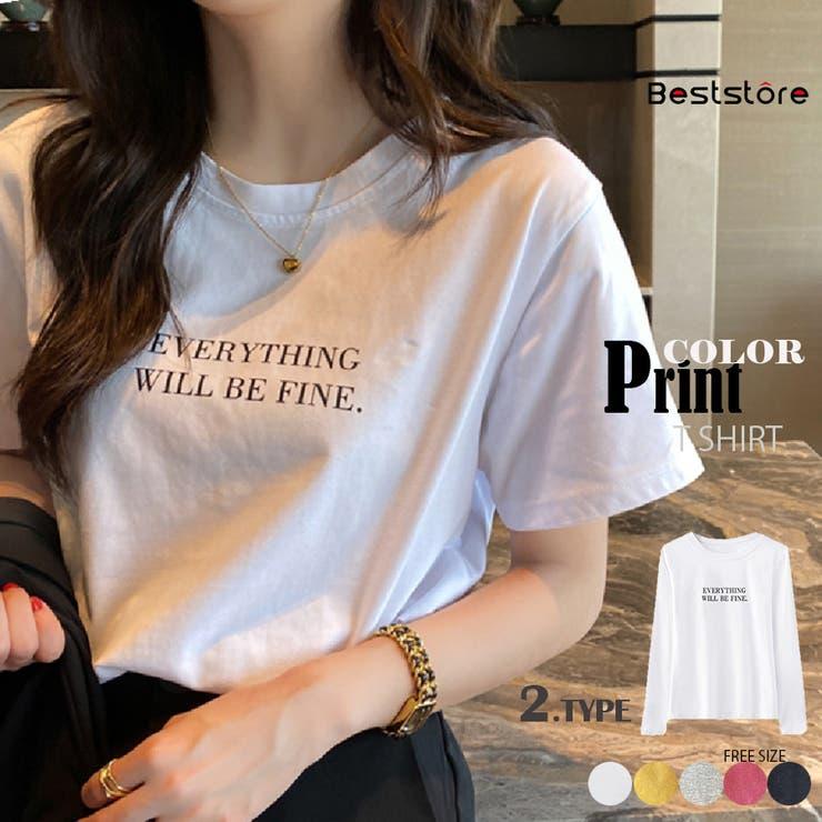 カラーロゴプリントTシャツ トップス 韓国ファッション | Beststore | 詳細画像1