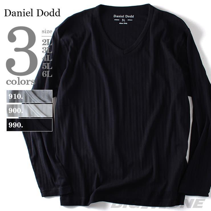 大きいサイズ メンズ DANIEL DODD 針抜きVネックロングTシャツ azt-160178 大きいサイズの メンズファッション2L 3L 4L 5L 6L 長袖 長そで Tシャツ 長袖Tシャツ ロンT カジュアル プリント アメカジ おしゃれ 無地