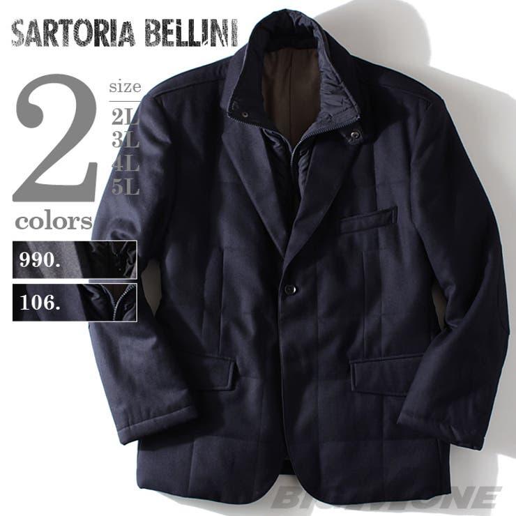 大きいサイズ メンズ SARTORIA BELLINI スタンドライナー付中綿ジャケット azvjk-01b 大きいサイズのメンズファッション 2L 3L 4L 5L 6L アウター ジャケット メンズジャケット 中綿 テーラード カジュアル
