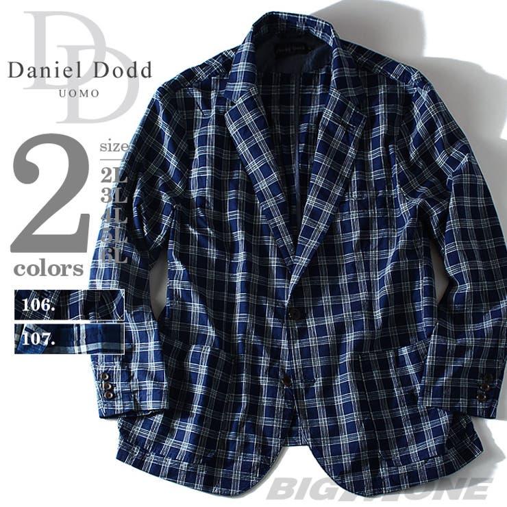 大きいサイズ メンズ DANIEL DODD インディゴチェックシャツジャケット azsh-150135j 大きいサイズのメンズファッション 2L 3L 4L 5L 6L アウター ジャケット メンズジャケット テーラード カジュアル