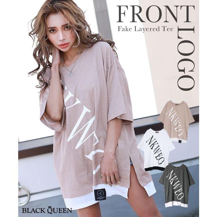 フロントロゴフェイクレイヤードTシャツ| mavily | BLACK QUEEN  | 詳細画像1
