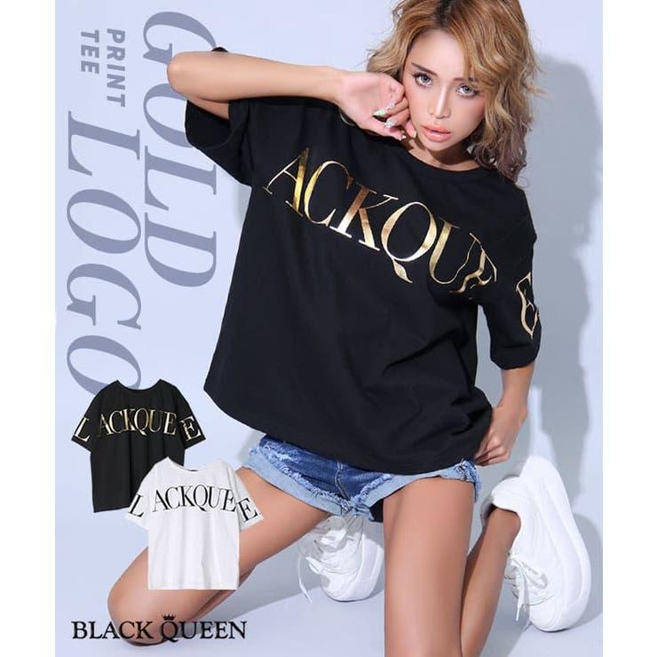 ロゴ箔プリントTシャツ【藤木そら着用】grady | BLACK QUEEN  | 詳細画像1