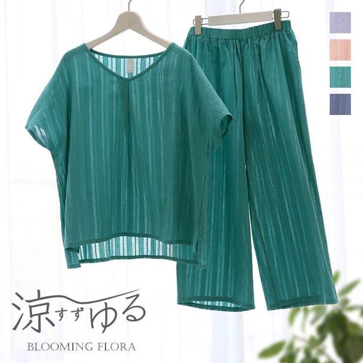 ブルーミングフローラ 涼ゆる 綿100%楊柳 ルームウェア | SHIROHATO | 詳細画像1