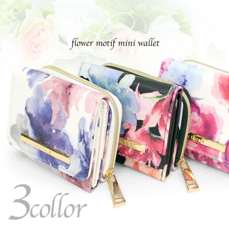 ブルーム 水彩 花柄 三つ折り ミニ財布   詳細画像