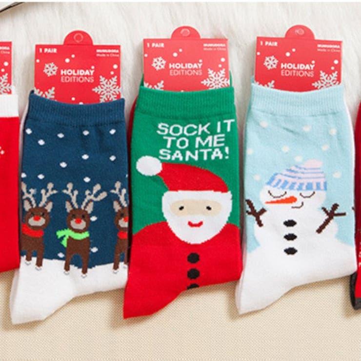 クリスマスデザインプリントソックス 靴下 クリスマス   BODYLINE   詳細画像1