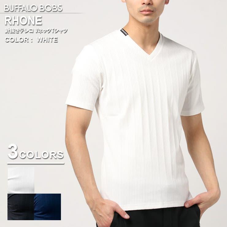 BUFFALOBOBSバッファローボブズRHONE(ローヌ)針抜きテレコVネックTシャツ | 詳細画像