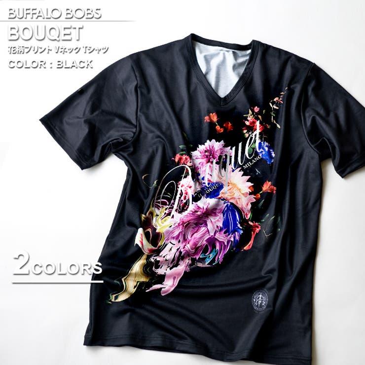 BUFFALOBOBSバッファローボブズBOUQET(ブーケ)花柄プリントVネックTシャツ | 詳細画像