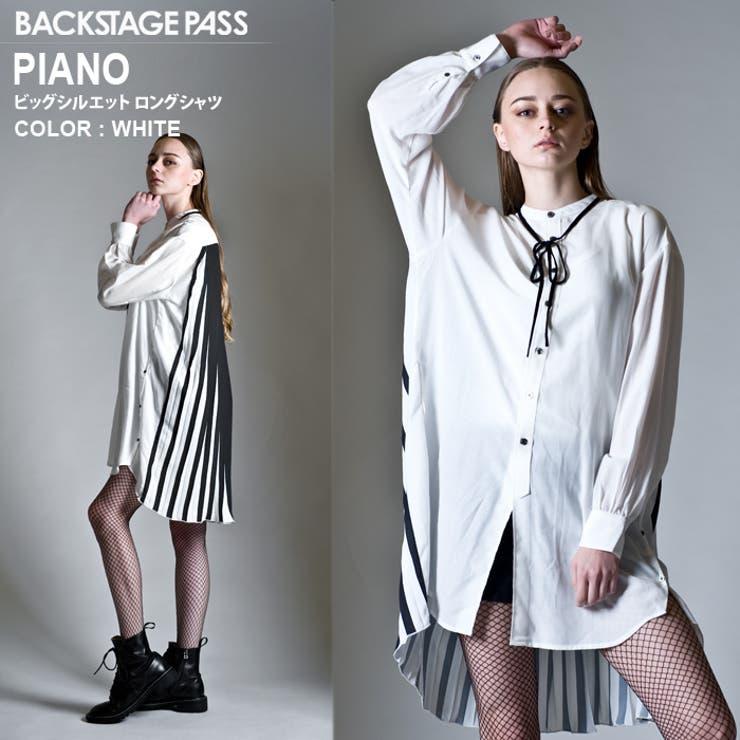 BACKSTAGEPASSバックステージパスPIANO(ピアノ)ビッグシルエットロングシャツBUFFALOBOBSバッファローボブズ | 詳細画像