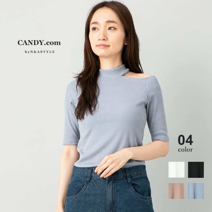 アシンメトリー リブ編み ハイネック   Select Shop Candy   詳細画像1