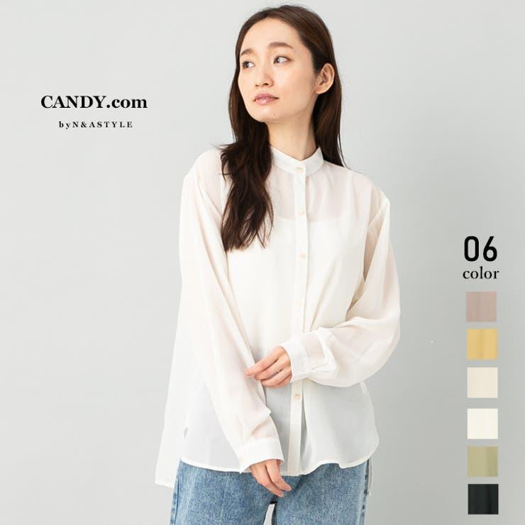 バンドカラーシャツ ブラウス シアーシャツ | Select Shop Candy | 詳細画像1