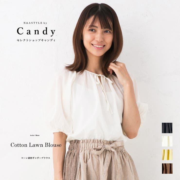 バルーンスリーブ 60ボイルローン ギャザーネックブラウス   Select Shop Candy   詳細画像1