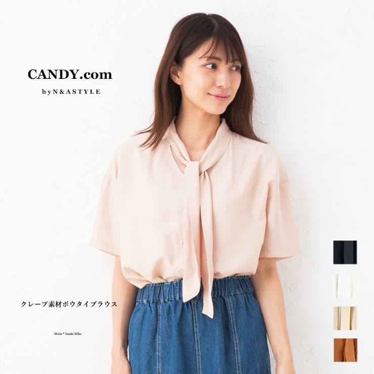 クレープ素材 ボウタイブラウス レディース トップス カットソー 半袖   Select Shop Candy   詳細画像1