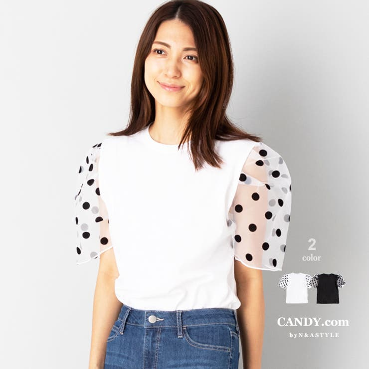 チュール袖切替え Tシャツ カットソー | Select Shop Candy | 詳細画像1