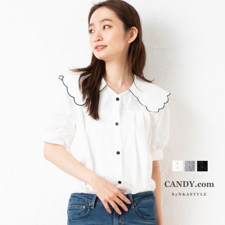 ビッグカラーブラウス セーラーカラーブラウス 半袖 | Select Shop Candy | 詳細画像1