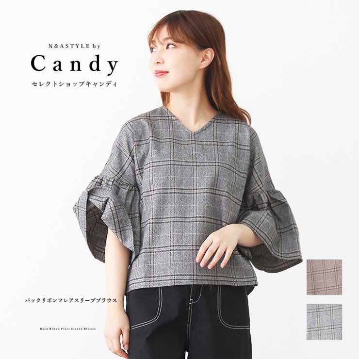 バックリボンデザイン グレンチェック柄 フレアスリーブ | Select Shop Candy | 詳細画像1