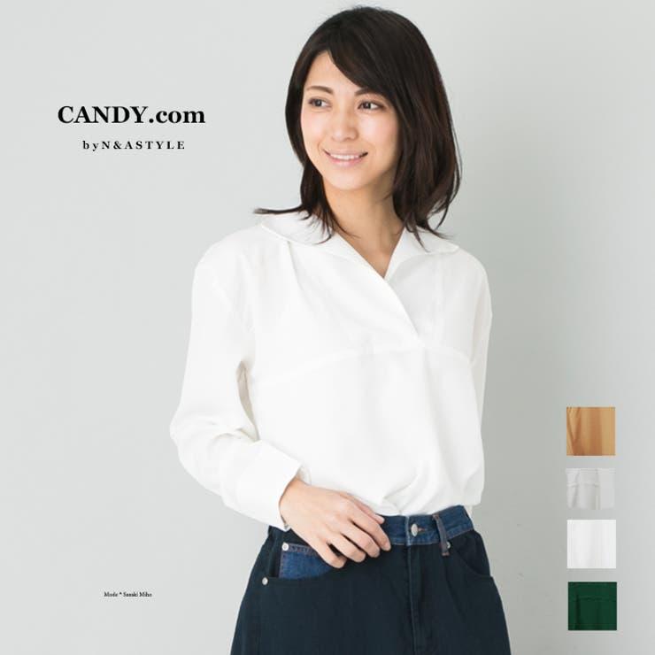 スキッパー ブラウス レディース トップス 長袖 シャツ ブラウス   Select Shop Candy   詳細画像1