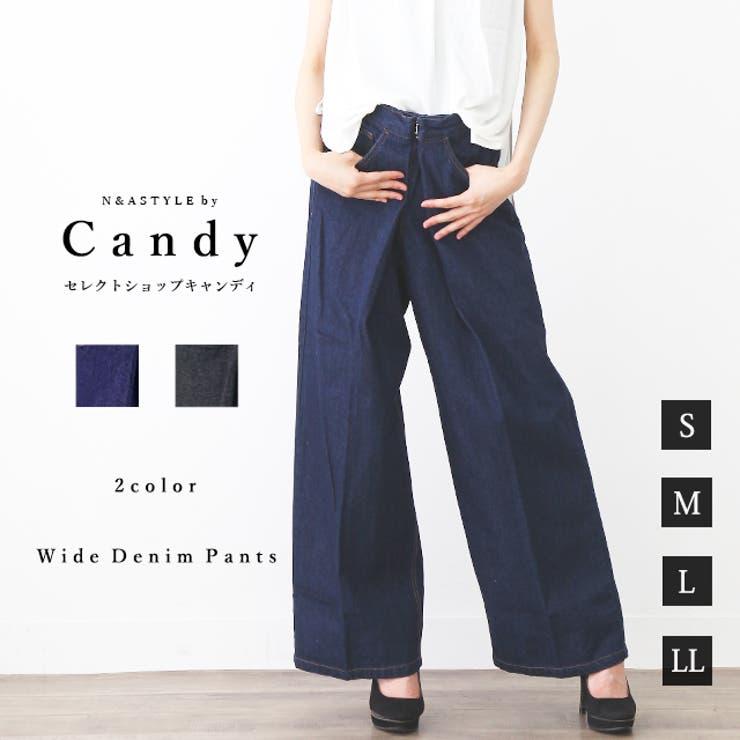 フロントフックワイドデニムパンツ S M   Select Shop Candy   詳細画像1