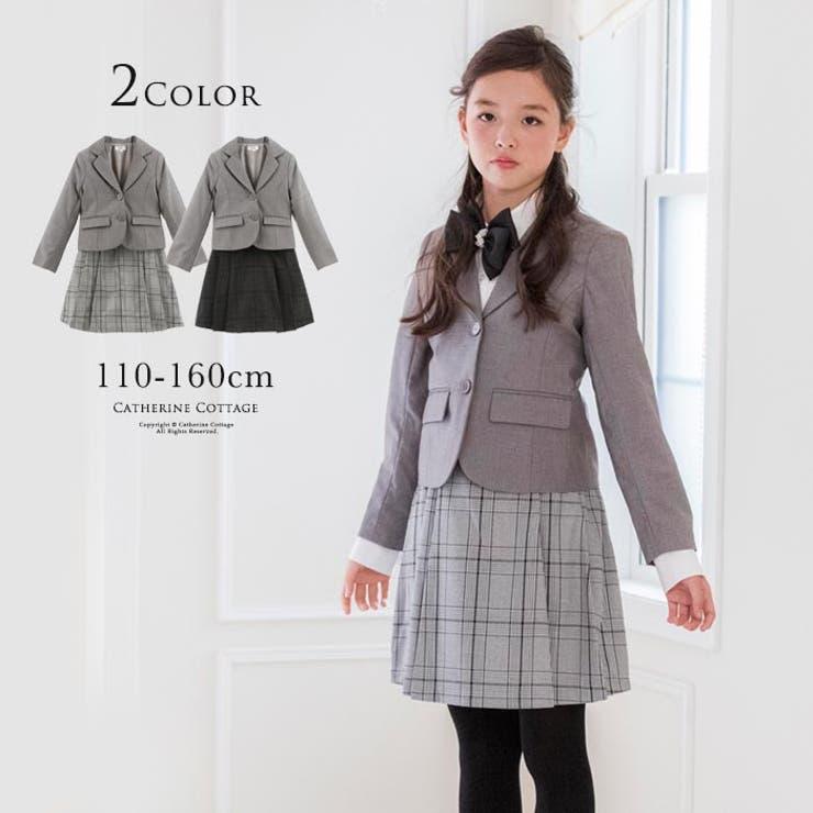 卒業式入学式キッズスーツコンパクトジャケット&チェック柄プリーツスカート2点セット | 詳細画像