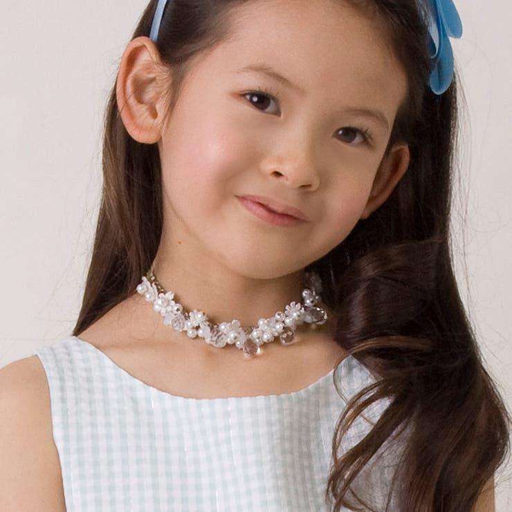 ネックレス 子供アクセサリー レース&パールリボンネックレス 子ども 女の子 キッズ 結婚式 発表会 フラワーガール ペンダントお姫様