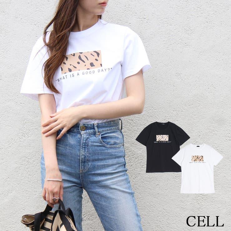 C3212 ヒョウ柄ボックスプリントTシャツ | CELL | 詳細画像1