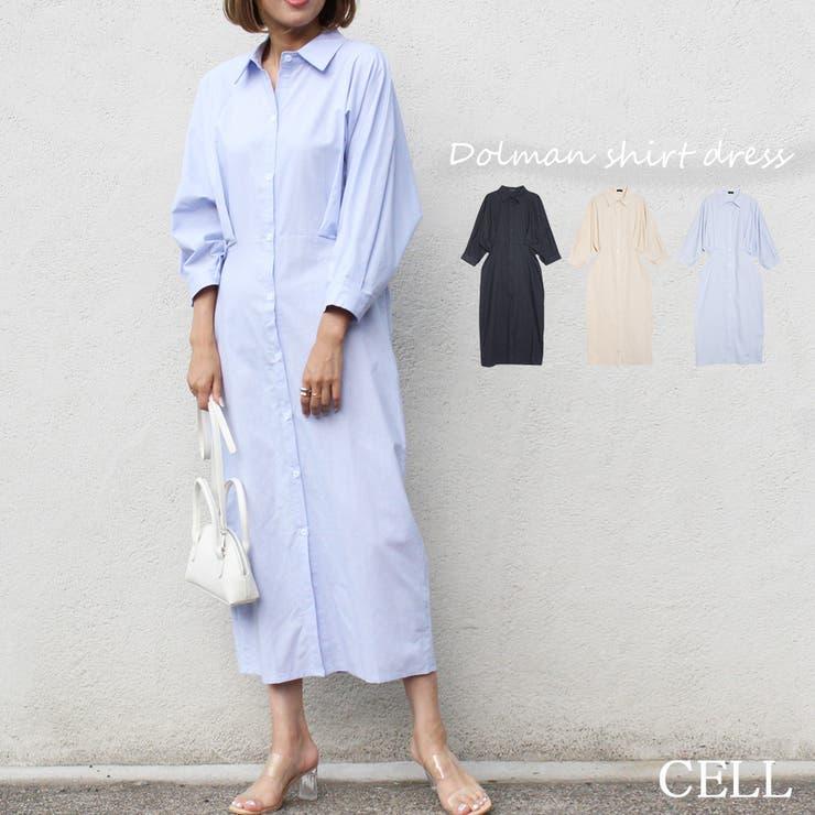 C3427 タックシャツワンピース   CELL   詳細画像1