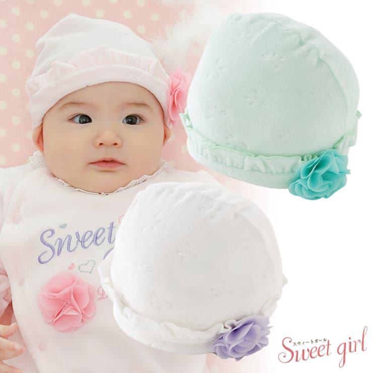 チャックルベビースウィートガールスイートガールベビー服新生児帽子新生児キャップコサージュ花柄リボン柄42CM43CM44CM出産準備お祝いギフトプレゼント | 詳細画像
