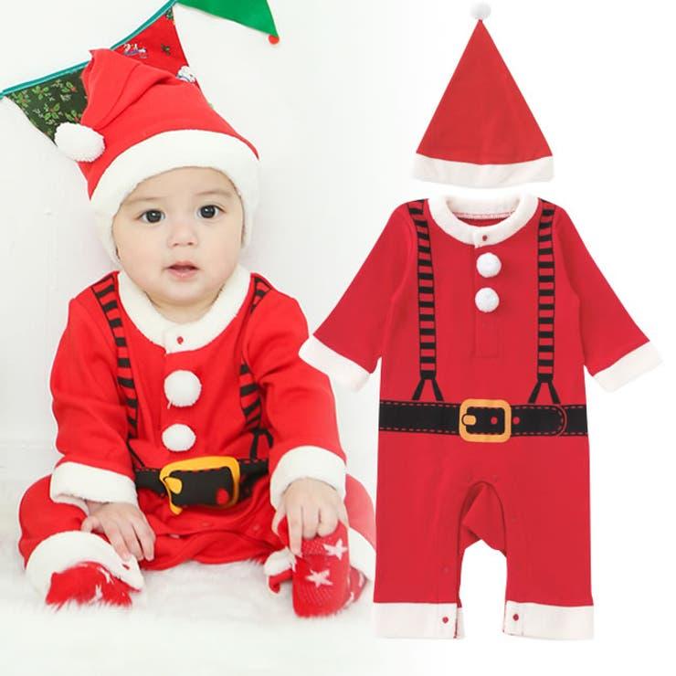 帽子付きサンタさんカバーオールベビー服 赤ちゃん 服 男の子 男児 クリスマスカバーオール サンタクロース 長袖 チャックルベビー