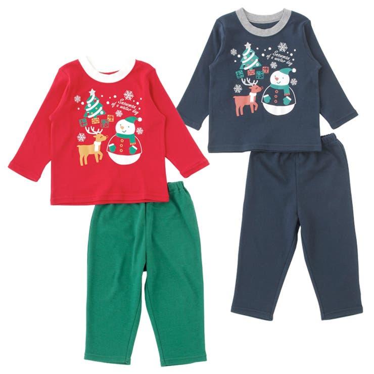 クリスマストップス&ズボンセット【パジャマ】赤ちゃん 服 ベビー服 パジャマ 部屋着上下セット クリスマス チャックルベビー
