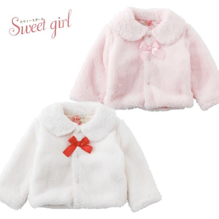 *スウィートガール*リボン付きボアジャケット赤ちゃん 服 ベビー服 羽織り アウタージャケット 長袖 チャックルベビー
