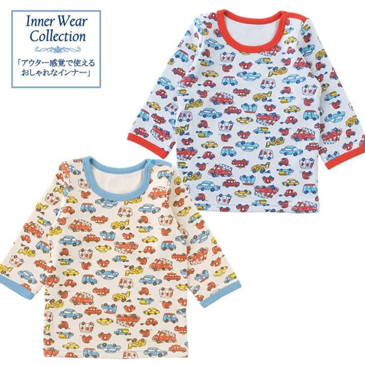 クルマ柄長袖インナーシャツ赤ちゃん 服 ベビー服 子供 下着 肌着冬 車柄 保育園 チャックルベビー
