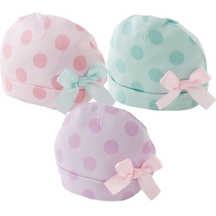 チャックルベビーベビー服赤ちゃん服新生児帽子赤ちゃん帽子ドット水玉リボン42cm44cm46cm | 詳細画像
