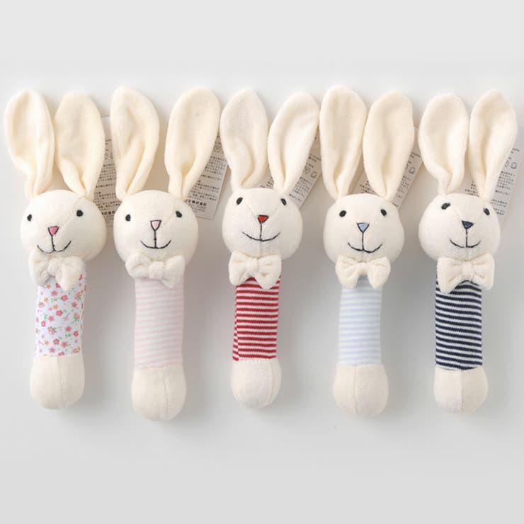ウサギさんガラガラ【ベロア】赤ちゃん ベビー おもちゃ 布のおもちゃガラガラ うさぎ チャックルベビー