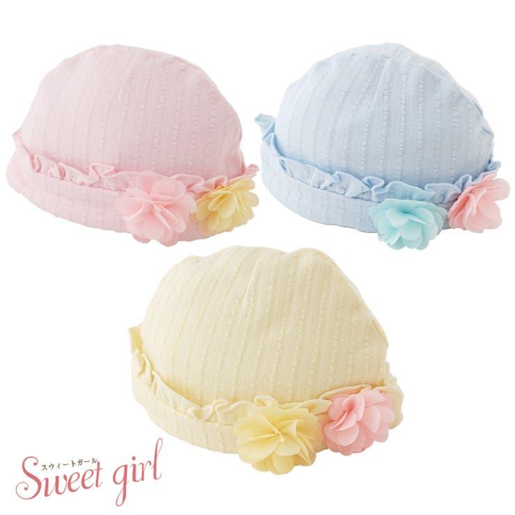 【5400円以上購入で】*スウィートガール*お花コサージュ付き帽子赤ちゃん新生児ベビー帽子キャップ出産準備お祝いギフトチャックルベビー | 詳細画像