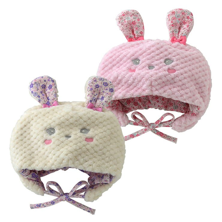 ベビー帽子女の子秋冬ベビー服赤ちゃんキッズ子供うさぎウサギ着ぐるみ出産祝いギフトプレゼントうさ耳付き花柄ピンクアイボリー46-48cm48-50cmP9803チャックルベビースウィートガールスイートガール | 詳細画像