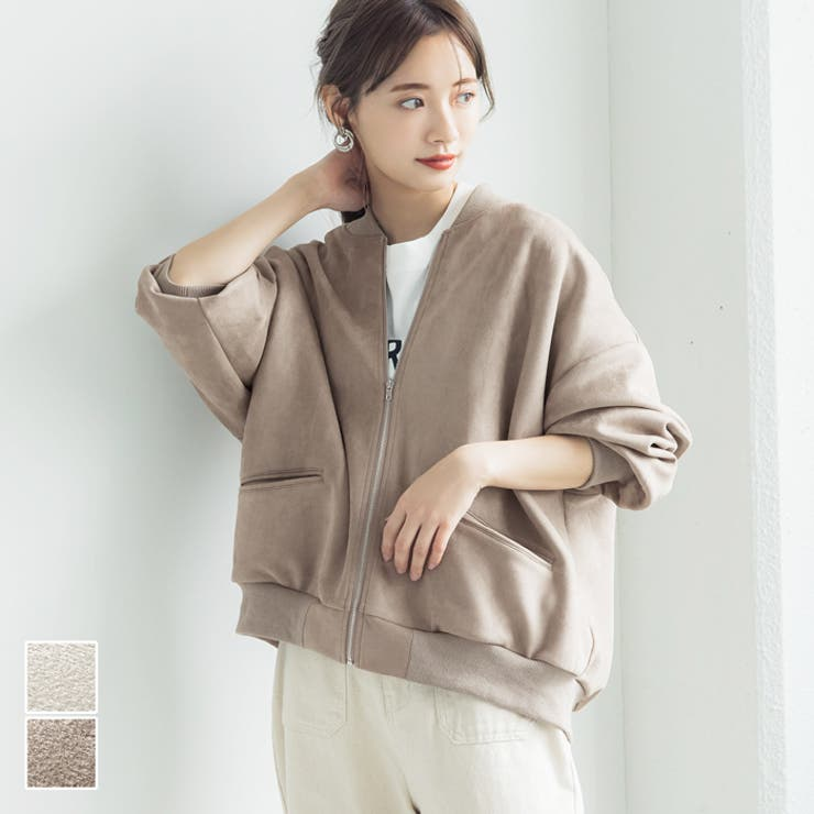赤埴奈津子さんアウター羽織りジャケットスエードバルーンスリーブポケットジップアップ前開きなめらかコカCOCAcocaCOCAcoca | 詳細画像