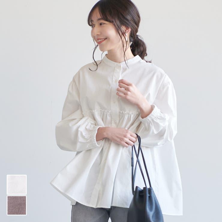 優季さんトップスシャツ綿100%コットンフロントボタンボリュームAラインノーカラーゆったりコカCOCAcocaCOCAcoca   詳細画像