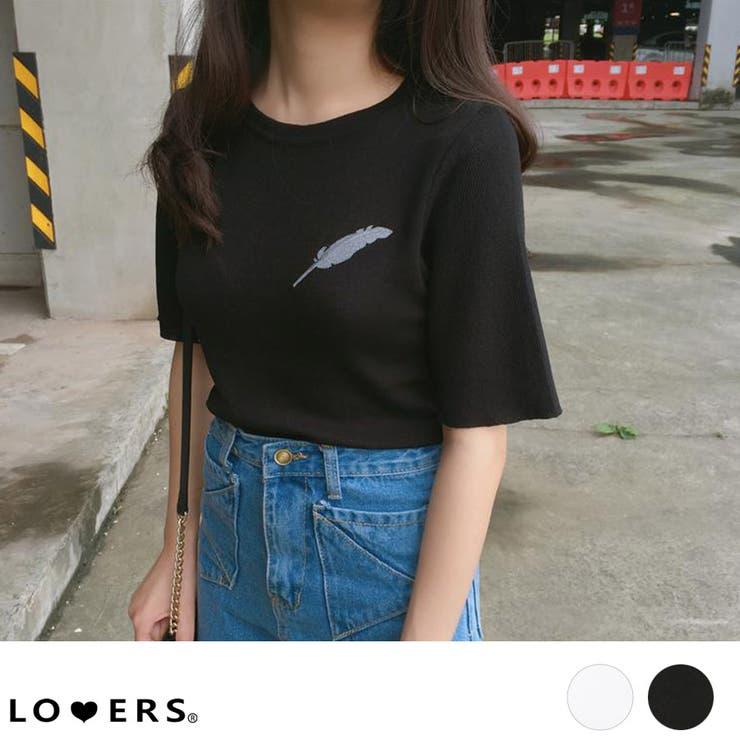 秋新作 フェザー刺繍Tシャツ ma | LOVERS | 詳細画像1