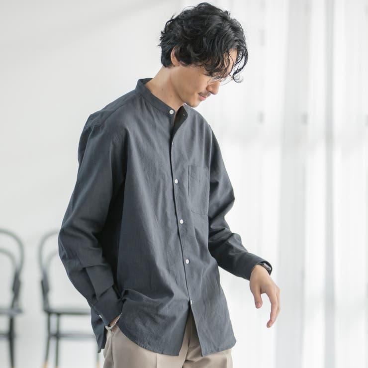 ウィンターリネンバンドカラーシャツ | coen【men】 | 詳細画像1