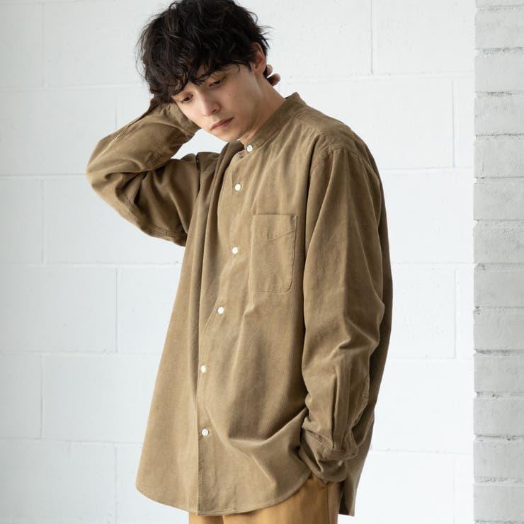 細畝コーデュロイバンドカラーシャツ | coen【men】 | 詳細画像1
