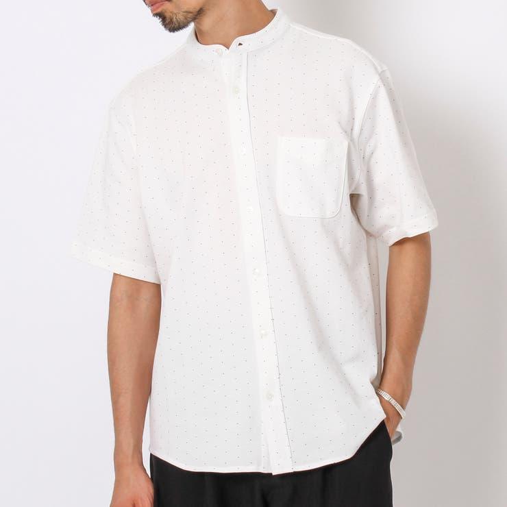 【吸水速乾】CVC鹿の子ドットバンドカラーシャツ | coen OUTLET | 詳細画像1