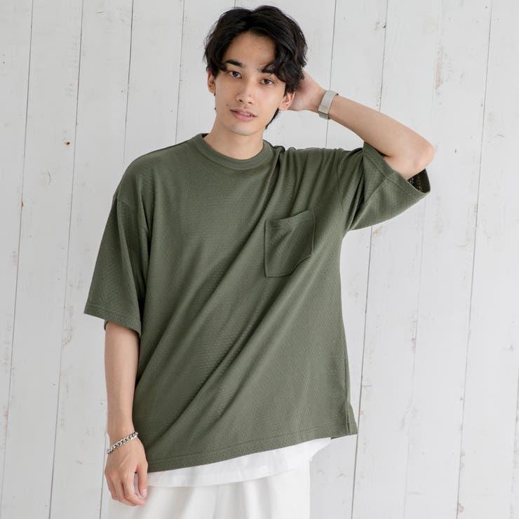 【2セットアイテム】パンチングリアルレイヤードTシャツ   coen【men】   詳細画像1