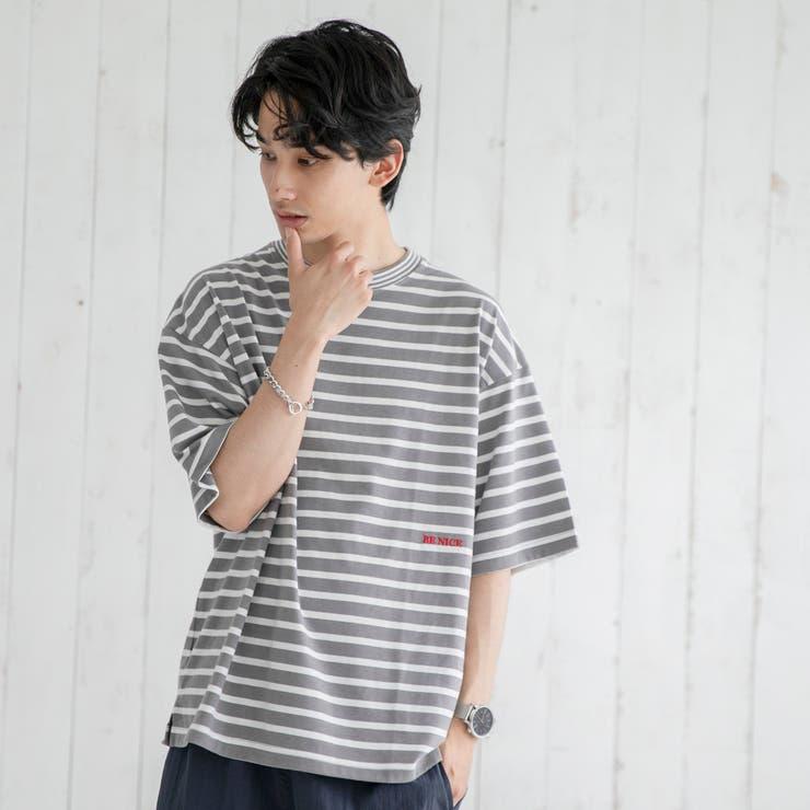 TCボーダー刺繍Tシャツ | coen【men】 | 詳細画像1
