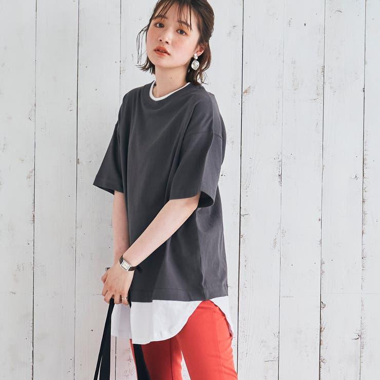UVカット対応USAコットンレイヤード5分袖Tシャツ# | coen【women】 | 詳細画像1