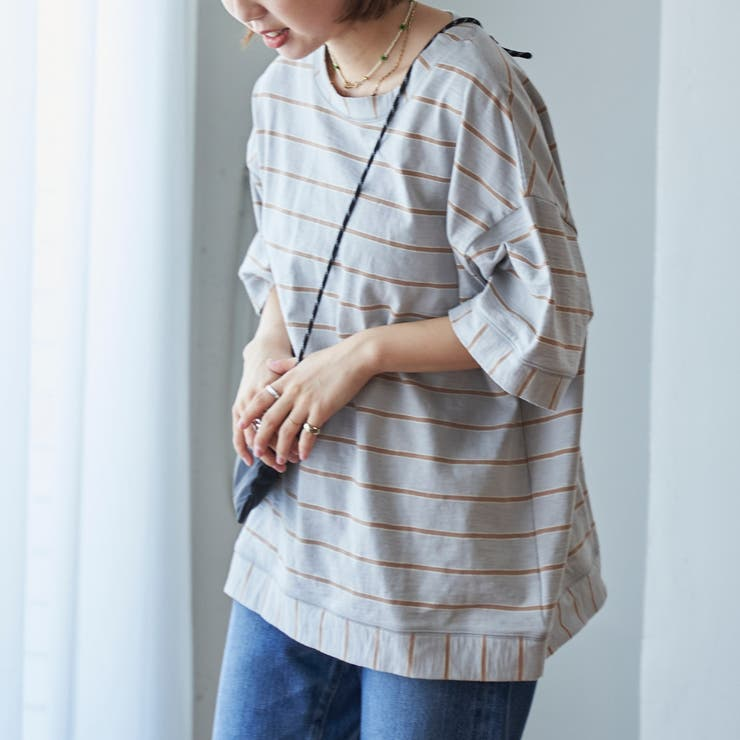スラブボーダー切り替えTシャツ   coen【women】   詳細画像1